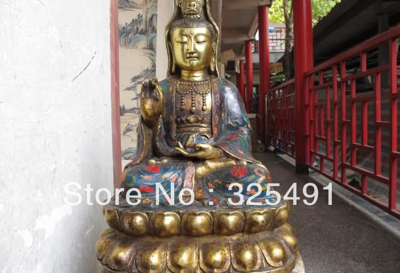 19 Tibet temple Bronze Gilt cloisonne lotus flower Bodhisattva GuanYin Kwan-Yin z19 Tibet temple Bronze Gilt cloisonne lotus flower Bodhisattva GuanYin Kwan-Yin z