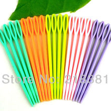 Wholesale -100Pcs  Mixed  Multicolor Plastic Sewing Needles 9.5cm(3 3/4
