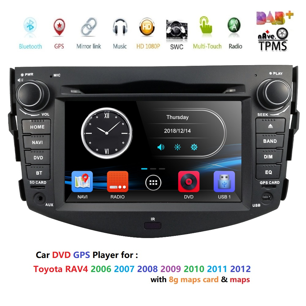 Car Head Unit Sat Nav Dvd Player For Toyota Rav4 2006 2017 With Gps Navigation Radio Tv Stereo System Bluetooth Free 8g Map