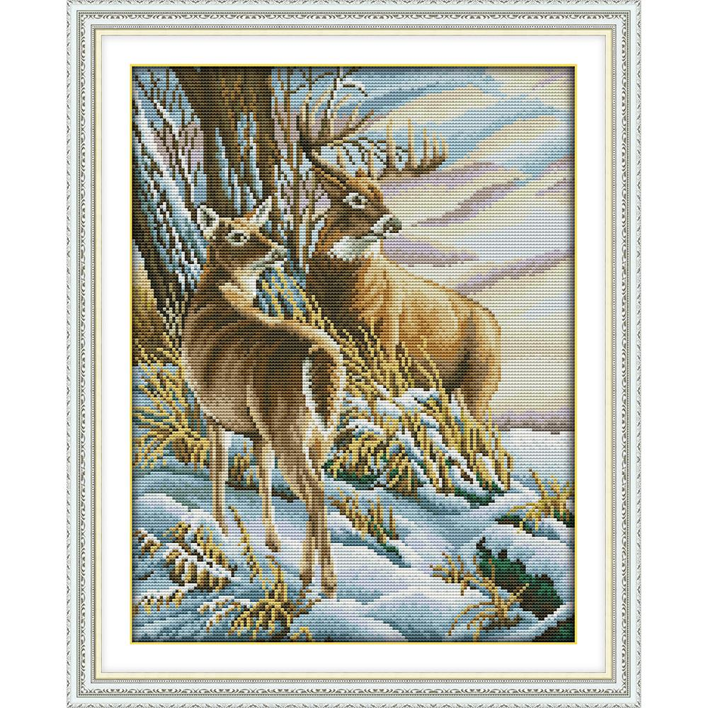 Everlasting Love Deer 3 Chinese Cross Stitch Kits Ecological Cotton Stamped Printed 14 11CT DIY Gift Wedding Decoration For Home
