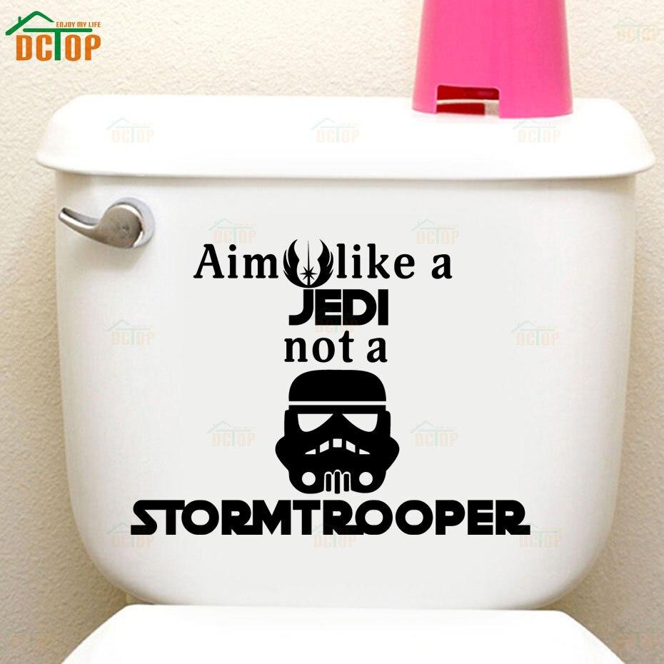 Funny Storm Trooper Toilet Wall Poster Seat Decal Star Wars Quote WC Toilet Stickers Vinyl Bathroom Door DIY Sticker Home Decor