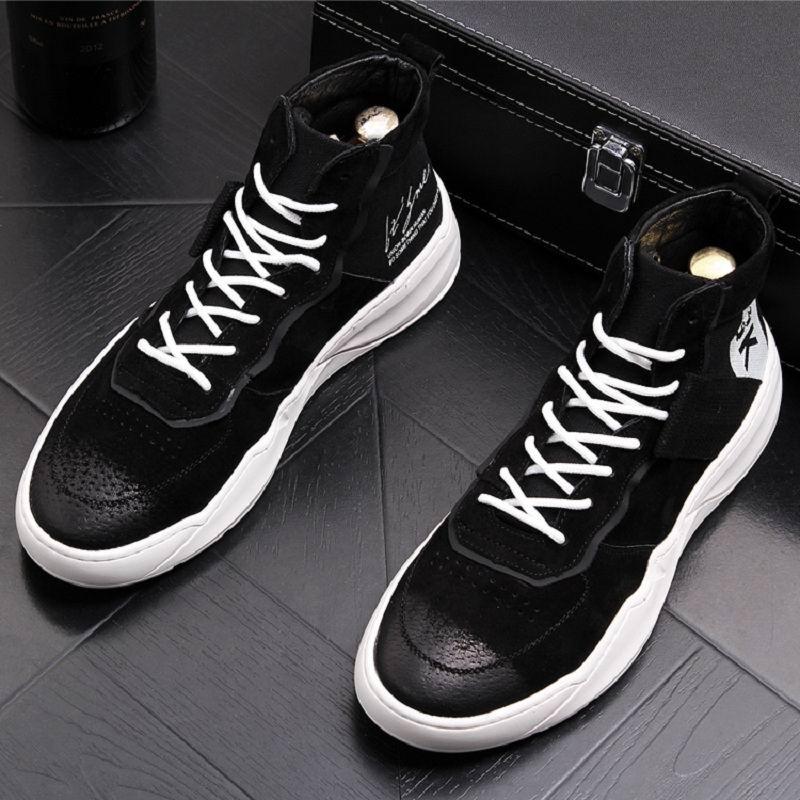 Chaussures blanc Bottes Casual Cheville Porc Blanc Noir Lace Errfc Top Avant Up Hommes Bout Rond Mode Confort 43 High Cuir Suède De En LMpzGqSUV