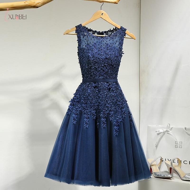 2019 Navy Blue Lace Short   Prom     Dresses   Sleeveless Applique Beading A line   Prom   Gown Tea Length Vestidos de gala