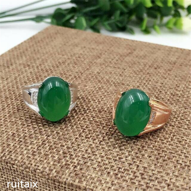 KJJEAXCMY fine jewelry 925 Pure silver natural green jade medulla ring inlay decoration wildflower simple alien crab oval wildflower