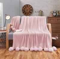 Pamuk örme atmak battaniye  kanepe/yatak/kanepe kılıfı Pom Pom ile