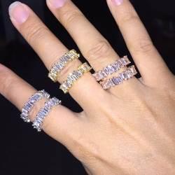 Тонкий багет T кольцо обручение Ручной Работы Радуга трапециевидная камень кольца для женщин Мода палец интимные аксессуары Анель