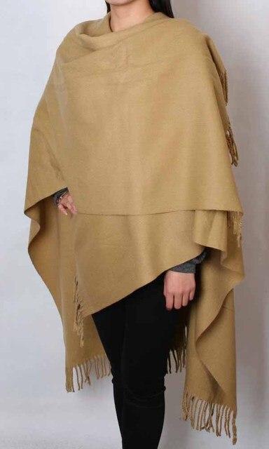 Camel Autumn Winter Fashion 100% Wool Pashmina Chinese Female Thick Warm  Cape Tassel Shawl Scarf 7188acdb6eba