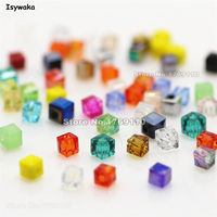 Isywaka 980pcs Cube 3mm Mixed Color Square Austria Crystal Beads Charm Glass Beads Loose Spacer Bead