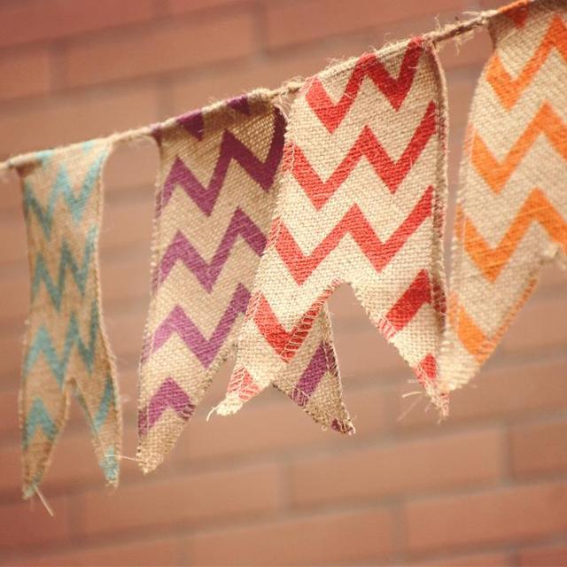 natural arpillera de yute banner boda rstica bunting chevron arpillera bunting banderas partidarias boda teln de