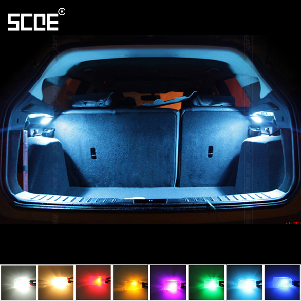 SCOE 2x3SMD Car Styling LED Interior Trunk Light Cargo Light Luggage Light For Skoda Octavia 1U2 Blue Crystal Blue Yellow White car usb sd aux adapter digital music changer mp3 converter for skoda octavia 2007 2011 fits select oem radios