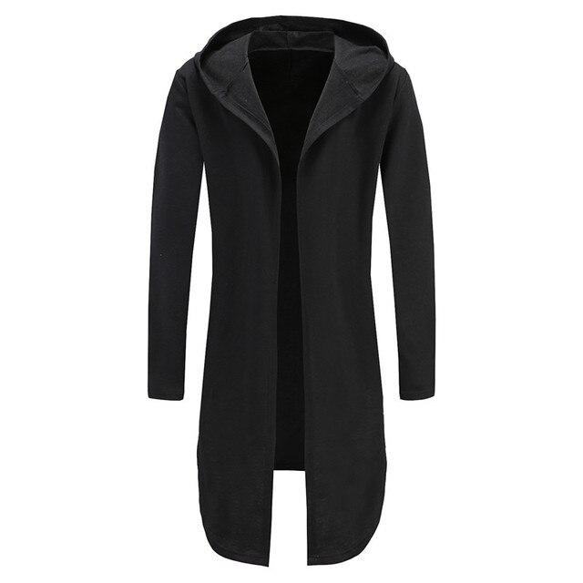 28f3ba840 Oversized Long Hoodie Men Male Hooded Mantle Cardigan Slim Fit Mens Hoodies  Sweatshirts Streetwear Gown Hoddies Men Jackets Robe