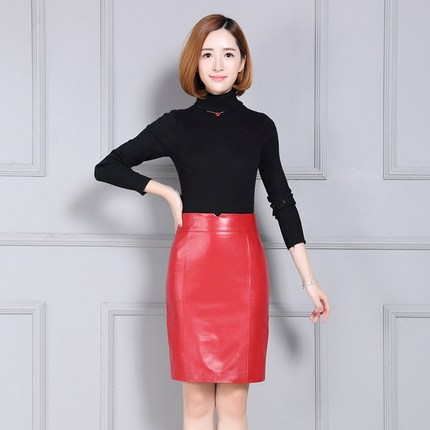 Image 2 - Women New Autumn and Winter Over the Knee Pure Genuine Sheep Leather Skirt K89Skirts