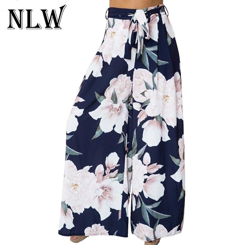 NLW Floral Print   Wide     Leg     Pants   Women Long Casual   Pant   2018 Spring Summer Boho Beach Elastic High Waist Chiffon Trousers