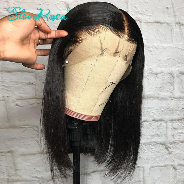 Pelucas de Bob corto cabello peruano 100% Remy Se puede teñir pelucas de cabello humano frontal de encaje predesplumado nudos blanqueados para Mujer Slove Rosa