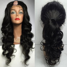 LUFFYHAIR 180% Density U Part Wigs Brazilian Remy Hair Body Wave U Part Human Hair Wigs For Women Glueless Middle U Shaped Wigs(China)