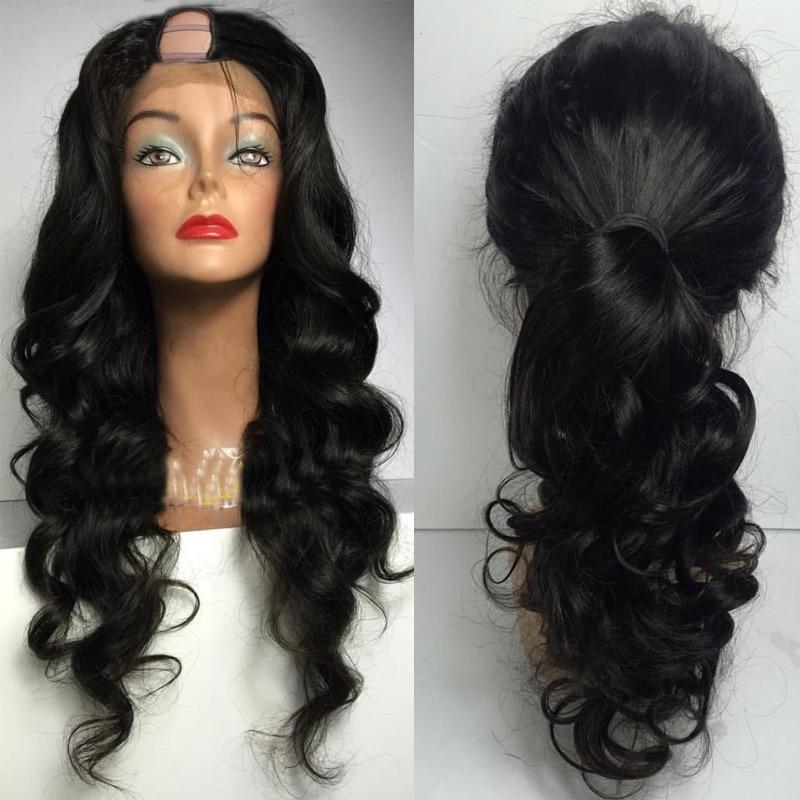 LUFFYHAIR 180% densité U partie perruques brésilien Remy cheveux vague de corps U partie perruques de cheveux humains pour les femmes sans colle moyenne en forme de U perruques