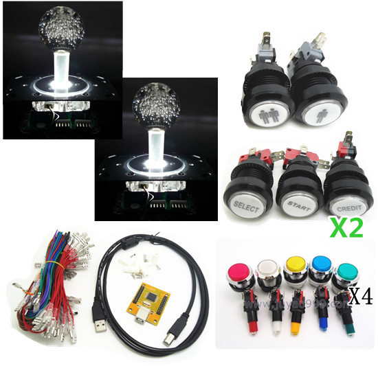 lighting kit of 2 players PC PS/3 2 IN 1 Arcade to USB controller 2 player MAME Multicade Keyboard Encoder with SILVER BUTTON arcade mame diy kit for 2 players pc ps 3 2 in 1 to joystck led button with icons interface usb 2 player mame interface