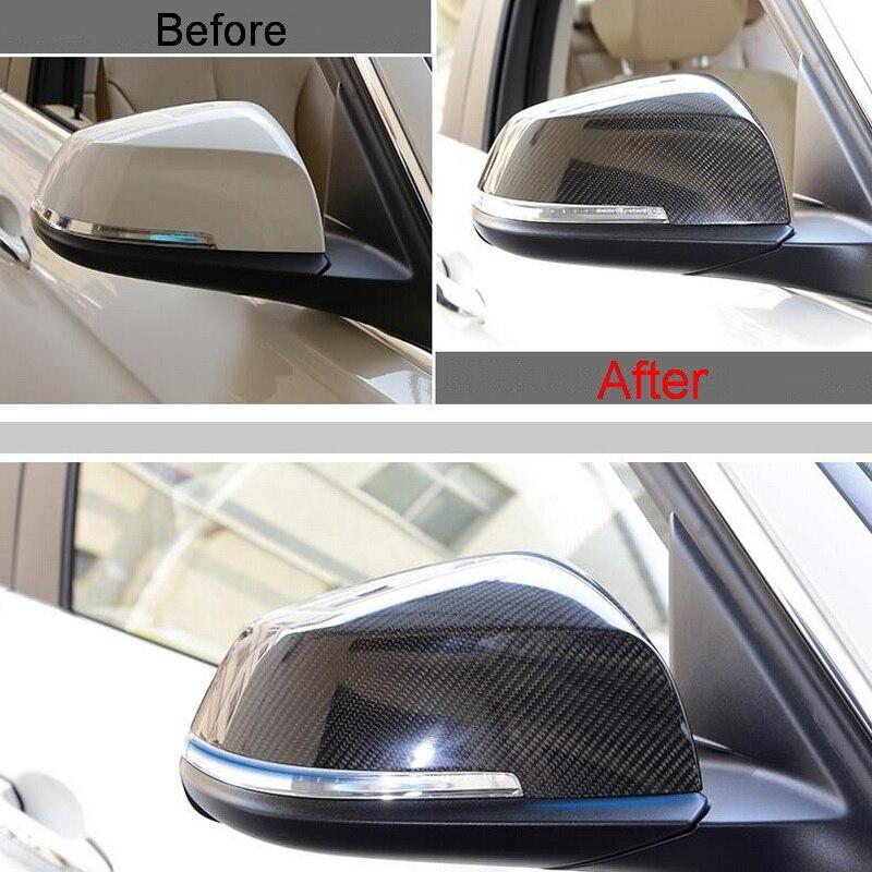2 pièces voiture Style nouveau en Fiber de carbone bricolage la porte arrière rétroviseurs extérieurs bâche de voiture autocollants pour Bmw 5 7 série 5GT accessoires
