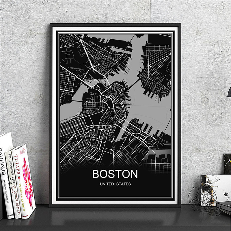 US $1 97 |BOSTON Abstract Modern canvas coated paper World map city poster  oil painting print picture Living Room Cafe Decor free ship-in Wall