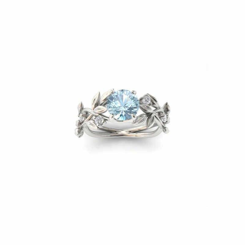 חתונה גביש כסף צבע טבעות גפן עלה עיצוב אירוסין מעוקב זירקון טבעת אופנה Bijoux לנשים גבירותיי תכשיטי מתנות