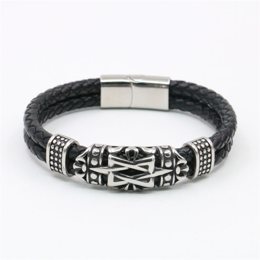 c0810671e6c4 Pulsera de cuero genuino de acero inoxidable Punk para hombre, símbolo de  runas nórdicas, pulsera ...