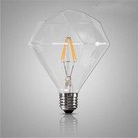 Ретро Винтаж G125 алмазный светодиод Эдисон лампочка E27 4 Вт ламп накаливания прозрачный Стекло 220 В энергосберегающие лампы Для Домашний Деко...