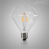 Retro Vintage E27 4W LED Edison Light Bulb Creative Diamond Filament Edison Bulbs Transparent Glass For