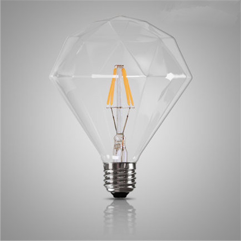 Retro Vintage G125 Diamond LED Edison Light Bulb E27 4W Filament Bulbs Transparent Glass 220V Energy Saving Lamp For Home Decor retro lamp st64 vintage led edison e27 led bulb lamp 110 v 220 v 4 w filament glass lamp