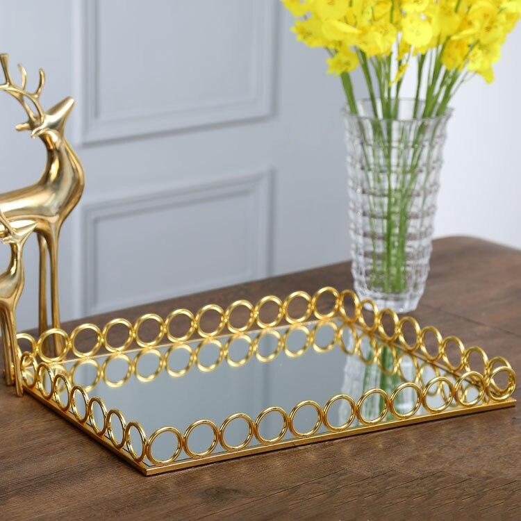 Plateau en métal décoration européenne modèle chambre hôtel villa haut de gamme bureau doux décoration miroir haut de gamme luxe plateaux