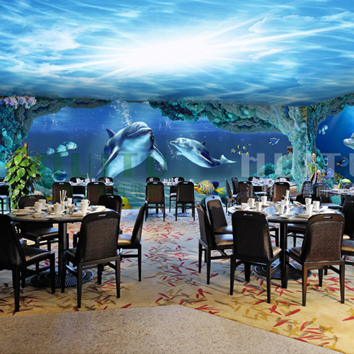 custom photo wallpaper 3d dolphin ocean underwater world wallpaper bedroom ceiling wallpaper childrens room restaurant mural - Underwater World Restaurant