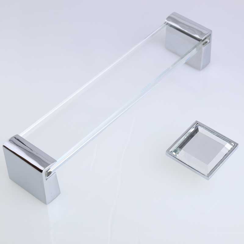 160mm glass crystal dresser kitchen cabinet wardrobe door handles silver chrome drawer knobs6.3 modern square furniture handles 32mm square red clear gray seablue glass crystal drawer cabinet knobs pulls silver chrome dresser kitchen cabinet door handles