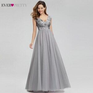 Image 3 - Elegante Grau Prom Kleider Lange Immer Ziemlich EP00984GY A Line V ausschnitt Sexy Pailletten Formale Party Kleider Vestidos Largos De Fiesta