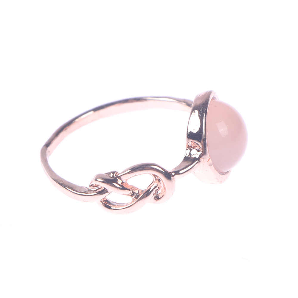 Hot Sale Pink Crystal Moonstone Rings European Fashion Female Creative Knot Rings Plated Rose Gold Color Jewelry anillos