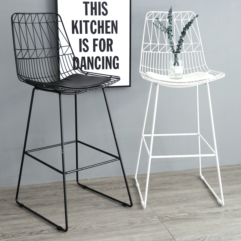 65cm 75cm Seat Height Fashion Popular Modern Design Black White Loft Metal Wire Bar Stool Barstool Bar Chair counter Stool-1PC