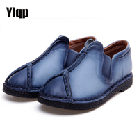 Ylqp Handmade Genuine Leather Shoes Folk Style Flat Shoes Retro Cowhide Soft Bottom Mother Flats Vintage