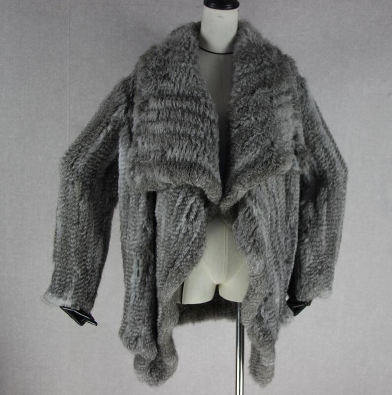 Трикотажный кардиган из натурального кроличьего меха, вязанные меховые накидки, шаль, пальто с кроличьим мехом, утепленное меховое пальто, женский модный стиль летучей мыши - Цвет: 1