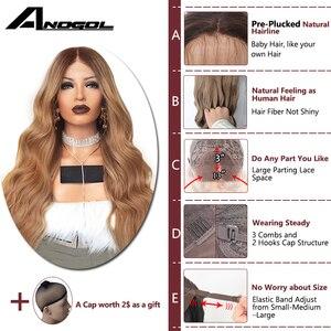 Image 2 - Anogol 180% צפיפות שיער טבעי כהה חום Ombre בלונד ארוך גוף גל מלא שיער פאות סינטטי תחרה מול פאה עבור נשים