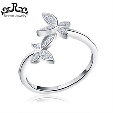 Rinntin Sterling Silver 925 Trendy CZ Crystal Butterfly Flower Open Finger Ring for Women Sterling Silver Jewelry Gift TSR10