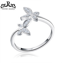 Rinntin Sterling Silver 925 Trendy CZ Crystal Butterfly Flower Open Finger Ring para Mujer Sterling Silver Jewelry Gift TSR10