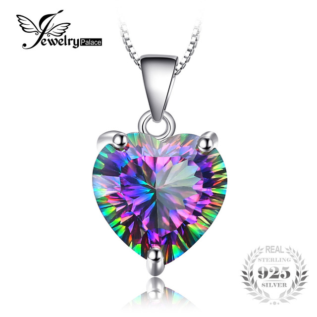 JewelryPalace 4.35ct Genuine Rainbow Fire Mystic Topaz Heart Pendant Solid 925 S