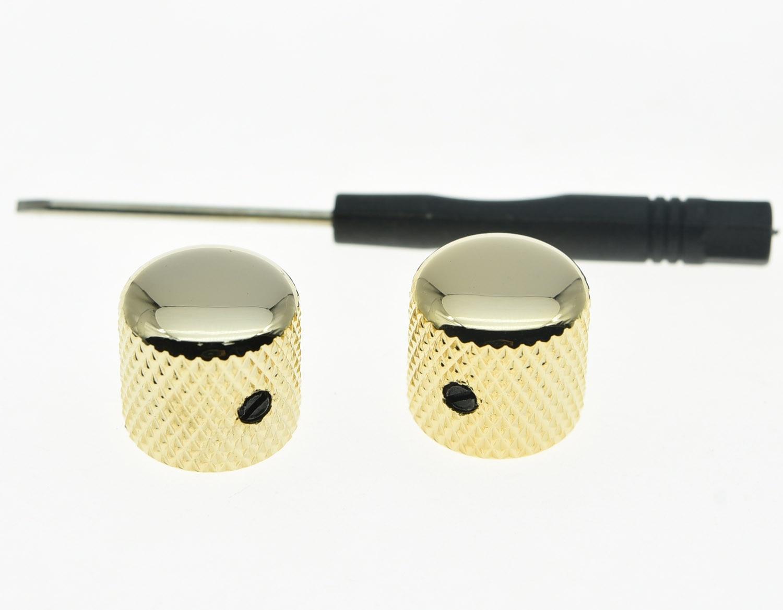 Kaish 2 Pcs Set Sekrup Emas Logam Gitar Dome Tombol Untuk Tele Switch Dpdt X 3 Dudukan Knop Telecaster Atau Bass Knob