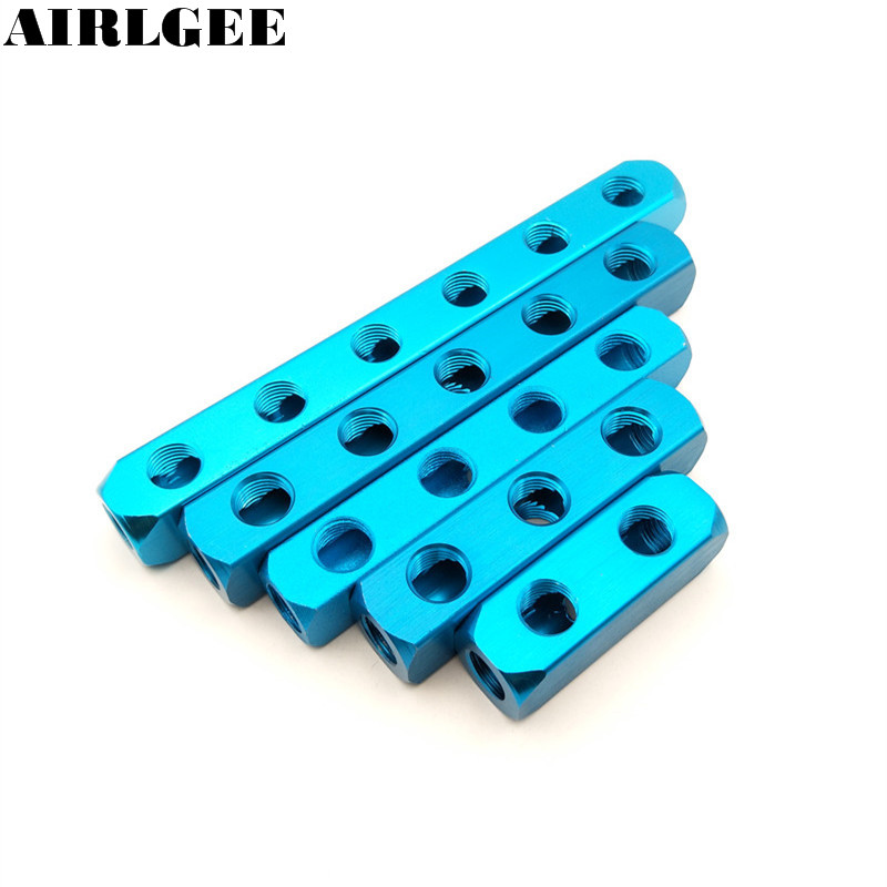 1/4 PT Thread Port 2 3 4 5 6 7 8 9 Way Pneumatic Quick Connector Air Hose Aluminum Manifold Block Splitter air pneumatic connector 6mm od hose tube push in m5 1 8 1 4pt 3 8 1 2 bspt male thread l shape gas quick joint fittings
