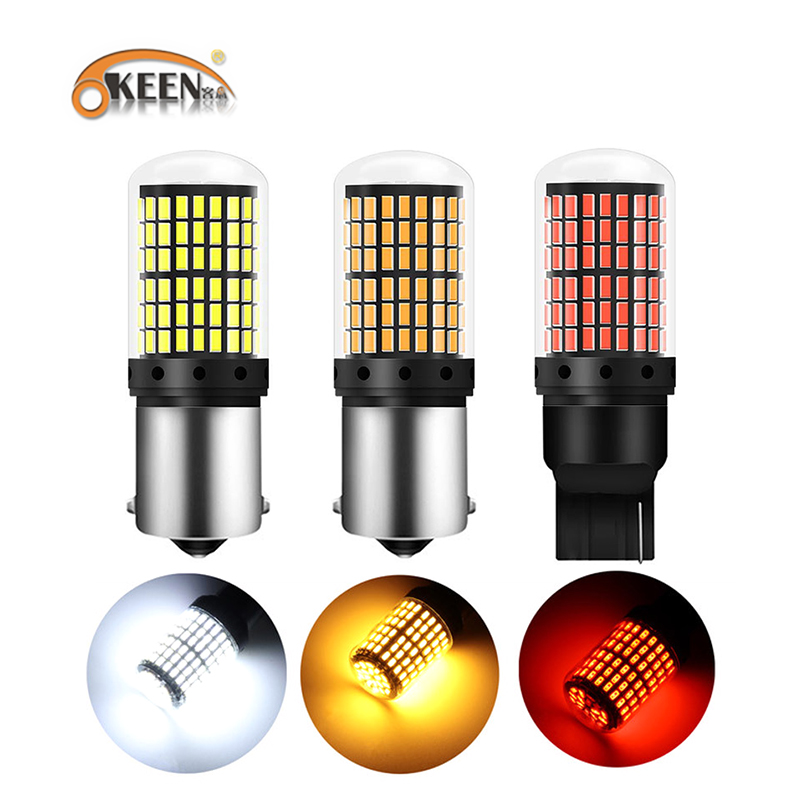 OKEEN 10x Car Turn Signal Light CanBus T20 <font><b>LED</b></font> Bulbs 144smd <font><b>LED</b></font> No Error 1156 BA15S P21W BAU15S PY21W 7440 Brake Stop <font><b>LED</b></font> Lamps image