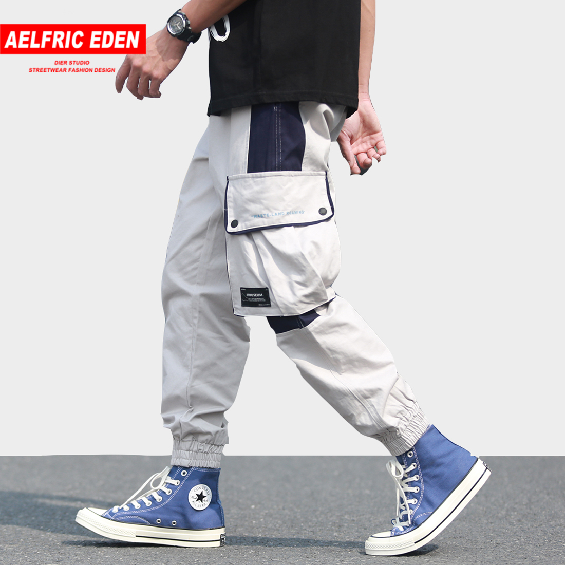 Aelfric Eden Big Pockets Color Block Casual Pants Men 2019 Spring Harem Pants Skateboard Joggers Loose Fashion Hip Hop Trousers For Fast Shipping