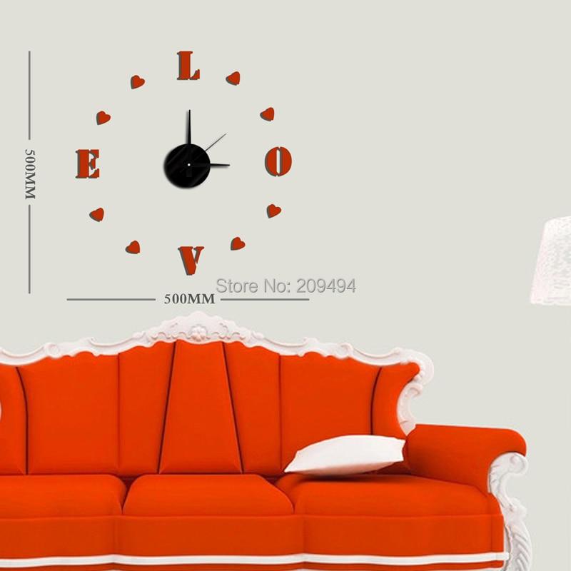 DIY moderní módní kreativní nástěnné hodiny 50x50cm EVA pasta červená LOVE nástěnná dekorace dekorace hodiny