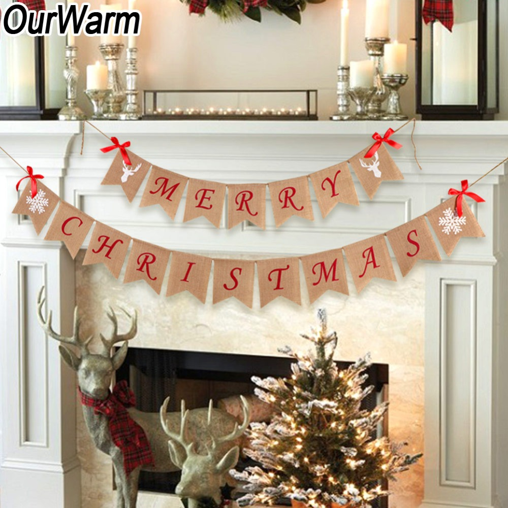 Merry Christmas Decoration Banner Pennant Flag Door Banner Bunting Xmas Decor