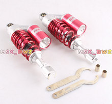 Red Universal 11″280mm One Pair Air Shock Absorbers Clevis Scooter Moped Quad ATV Gokart Motorcycle Accessories