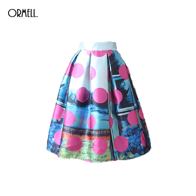 ORMELL Spring High Waist Skirts Women Summer New Pattern Dots Printing Vintage Puffy Ladies Skirt Knee Length Mid Female Saia