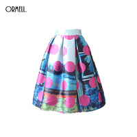 ORMELL Spring High Waist Skirts Women Summer New Pattern Dots Printing Vintage Puffy Ladies Skirt Knee