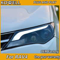 KOWELL Car Styling for 2014 2015 New RAV4 LED Headlights RAV4 LED Headlight DRL Bi Xenon Lens High Low Beam Parking Fog Lamp